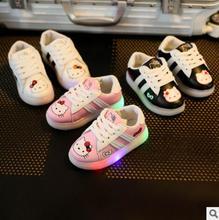 Meninas Sapatos Casuais Com Luzes LED de Luz de Calçados Esportivos Miúdos Bonitos Sapatos macios Para Meninos Tênis Chaussure Levou Bebê Botas Tamanho 21-30