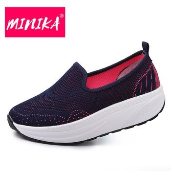 687c272fbdea Minika Новая удобная женская обувь на платформе многоцветные дополнительный  без шнуровки женские лоферы Большие размеры 35–42 прочный Для женщ.