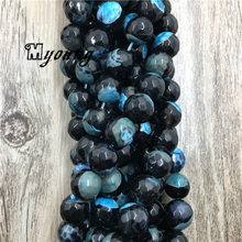 Black And Blue Fire Agates Beads, Round Faceted Wholesale Jewelry Findings, MY1628