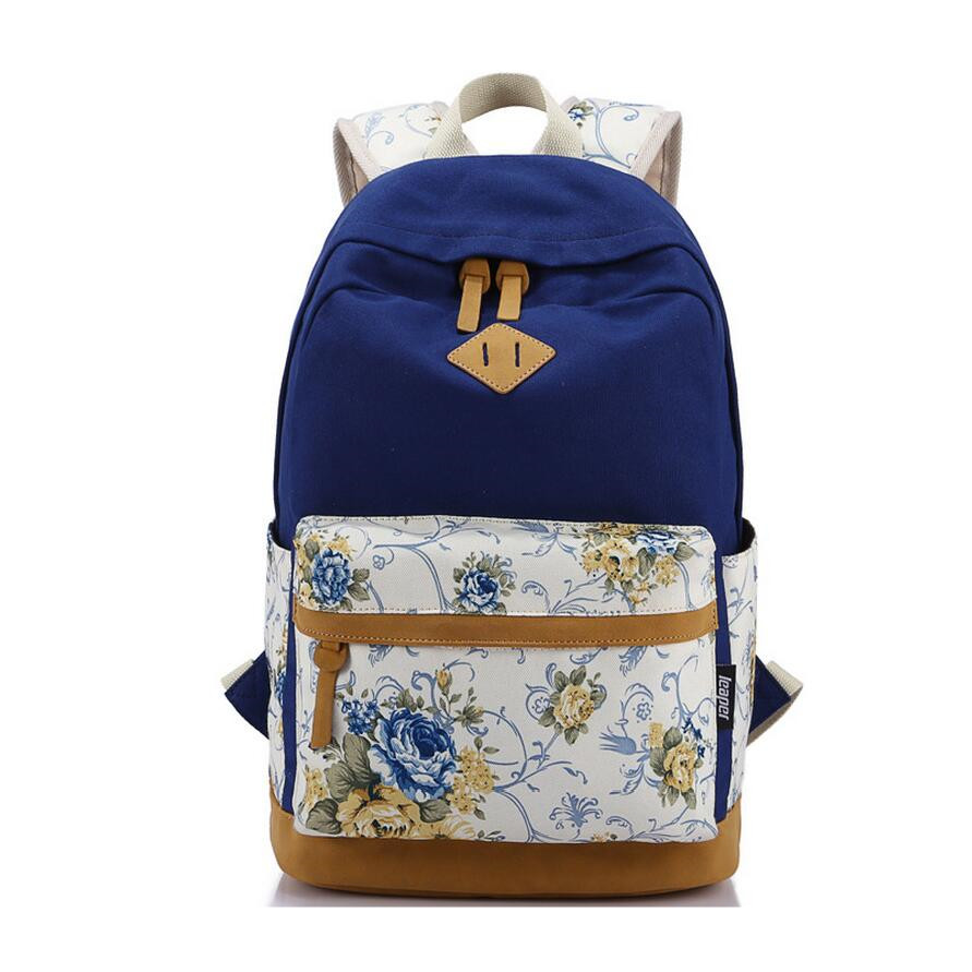 rose flower women canvas backpack girls school bags bookbag schoolbag mochila kids backpack laptop bag 14 inch travel bags