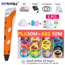 Myriwell 3d pen pens abs 1.75mm pla filament printed 3 d 2018 Smart Child birthday present Christmas gifts