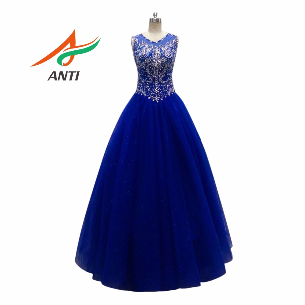 ANTI Royal Blue Quinceanera Dresses 2018 Beaded Rhinestones Organza ...