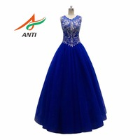 ANTI Royal Blue Quinceanera Dresses 2017 Beaded Rhinestones Organza Shimmering Tulle Ball Gowns For 15 Years