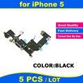 5 pçs/lote preto de alta qualidade para o carregador iphone 5 5g doca de carregamento cabo flex headphone jack de áudio de substituição