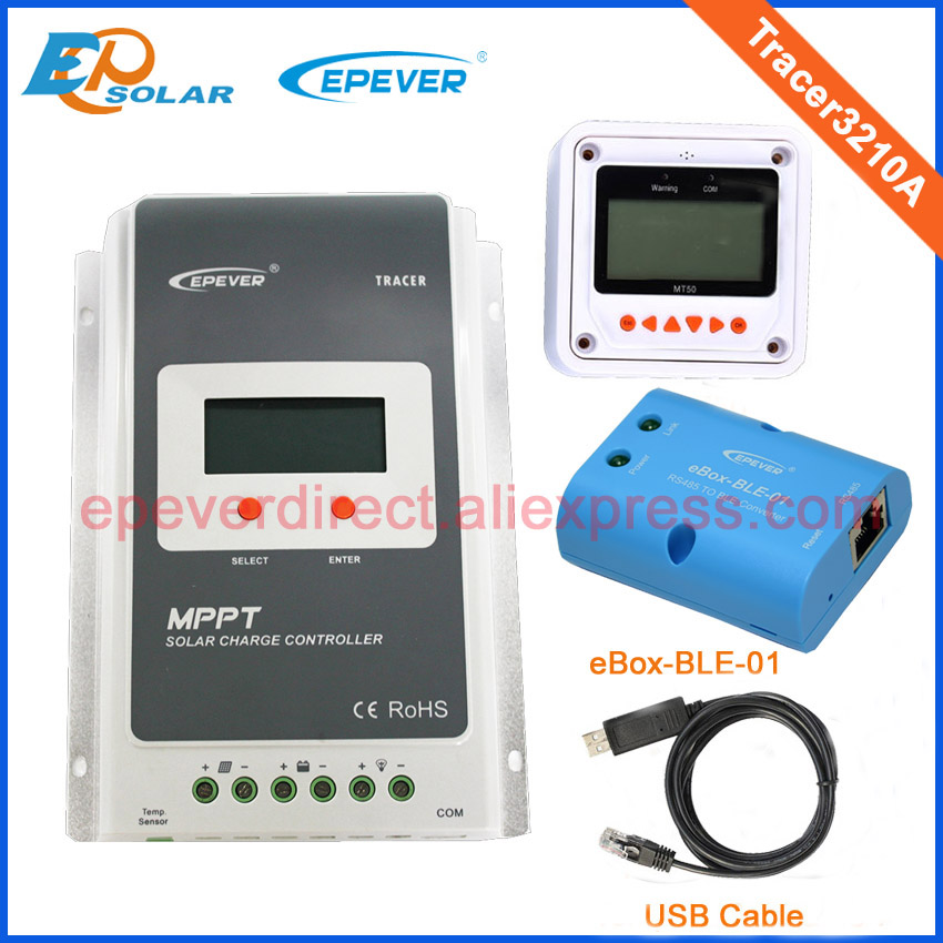 mppt Solar regulator panel system 30A Tracer3210A White color MT50 with USB and BLE funciton for 12v 24v auto work two color choices mt50 with usb and sensor solar regulator 20a mppt tracer2210a for 12v 24v auto work