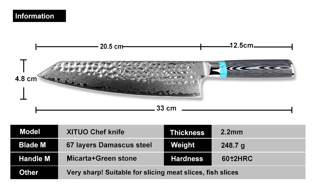 chef knife dimensions