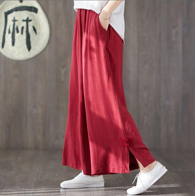 Large size   Wide     leg     Pants   Women Elastic waist cotton linen   Pants   Plus size   Wide     leg   Trousers Oversized   Pants   M -7XL