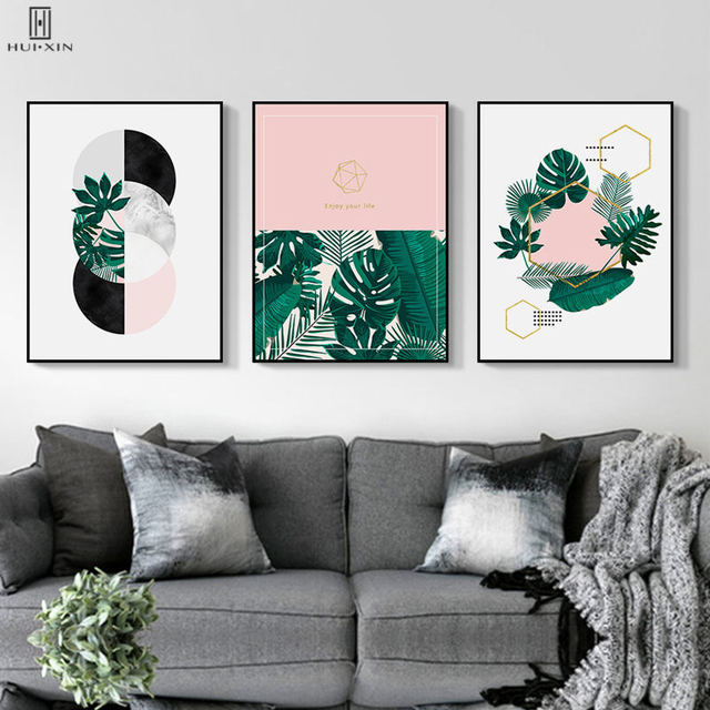 Nordic Tropical Plants Green Leaf Poster Geometric Annular Ring Pink Colors Paintings Wall Art Print