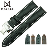 MAIKES Factory Direct Sale New Arrival Men Genuine Leather Watch Strap And Hidden Butterfly Pushed Button