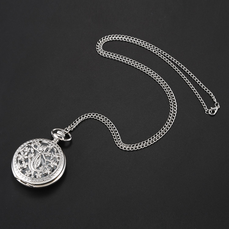 Vintage Elegant Mermaid Glamour Silver Cutout Quartz Female Pendant With Sweater Necklace Pocket Watch