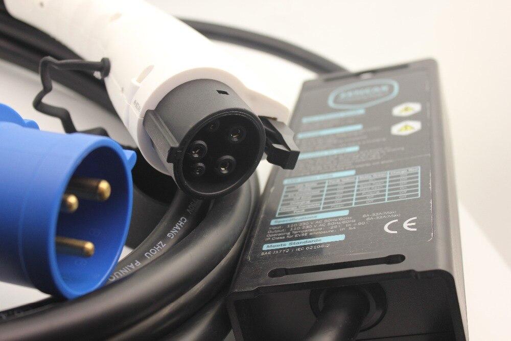 SAE J1772 EV ladegerät CEE 3 pins stecker Typ 1 einstellbare EVES 8A 10A 16A 5 Mt kabel für Hause Inländischen Elektrische Auto ladekabel