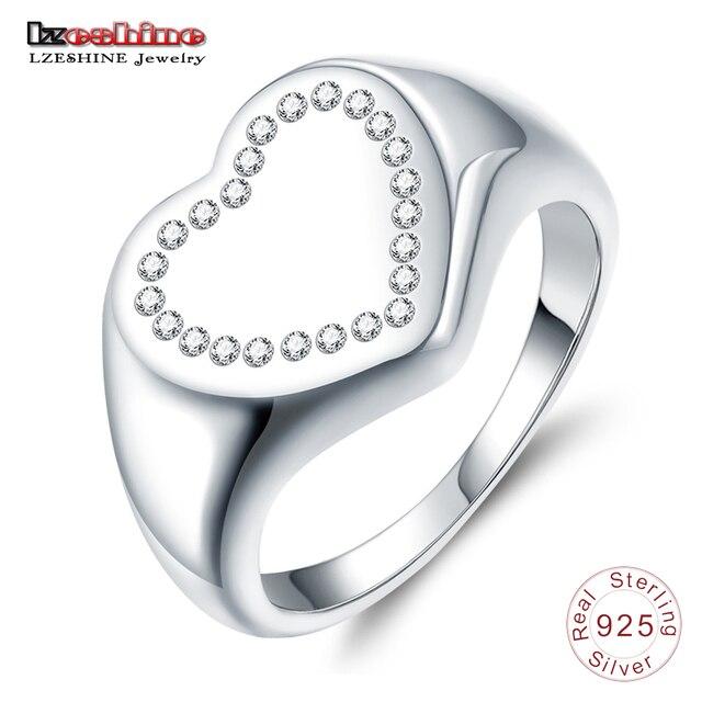 53e9af3e9fc0 LZESHIN nuevo corazón de la plata esterlina 925 Signet anillo de dedo para  la joyería femenina