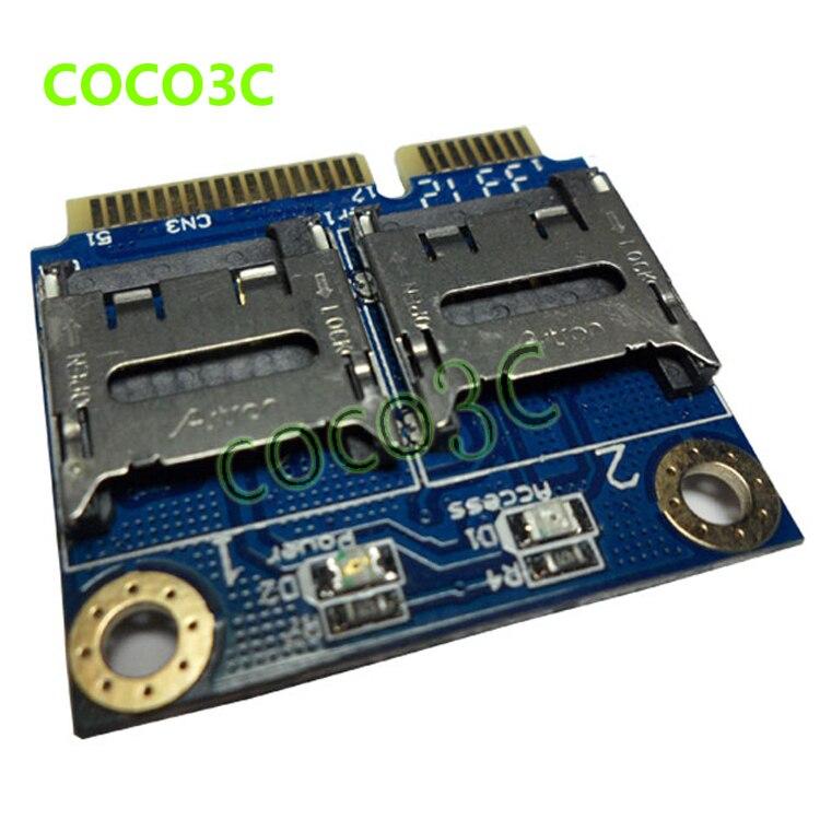 Бесплатная Доставка 2 SSD HDD для ноутбуков Dual Micro SD, SDHC SDXC Для Mini PCIe картридер mpcie 2 мини-sdcards адаптер ...