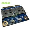 Frete grátis 2 hdd ssd para laptop dual micro sd sdhc leitor de Cartão de Memória SDXC para Mini PCIe mPCIe para 2 mini-sdcards adaptador