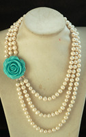 3rows Freshwater Pearl White 8 9mm Necklace 18 22inch FPPJ Wholesale Beads Nature Red And Green