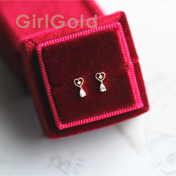 14K Solid Gold Dainty Heart Jewelry Minimal Simple Style Gift Stud Earrings title=