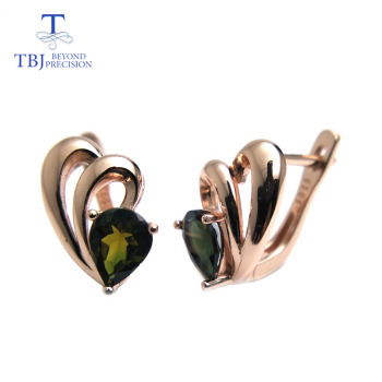 TBJ,Grace small simple earring with natural multicolor tourmaline gemstone in 925 sterling silver fine jewelry for women as gift