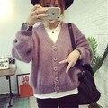 Де DoveKorean осенью новый ретро свободные фонарь рукав сплошной цвет вязать кардиган свитер джемпер куртка женщин