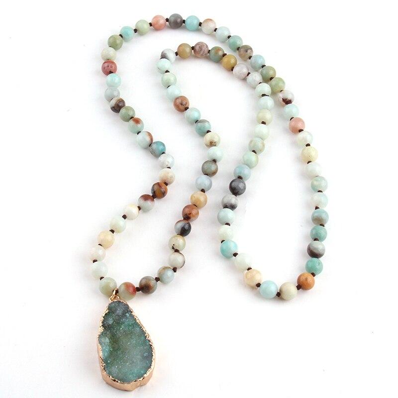 Moda Bohemia joyería Tribal largo anudado amazonita Natural Druzy gota colgante collar de piedra