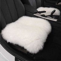 45*45 Luxurious Natural Fur Authentic Soft Fluffy Wool Sheepskin Car Seat Cover for Automobile Interior Accessory Seat Cushion