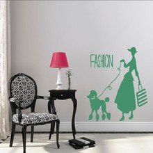 Wall Decal Vinyl Dog Sticker Woman With Poodle Fashion Art Decor Design Removable Mural Poster DIY WW-363
