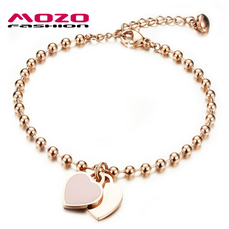 MOZO FASHION Woman Party Jewelry Double Heart Pendant Rose Gs