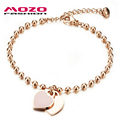 MOZO FASHION Woman Party Jewelry Double Heart Pendant Rose Gold Plated Stainless Steel Bracelet Bead Chain Women Bracelet MGS807