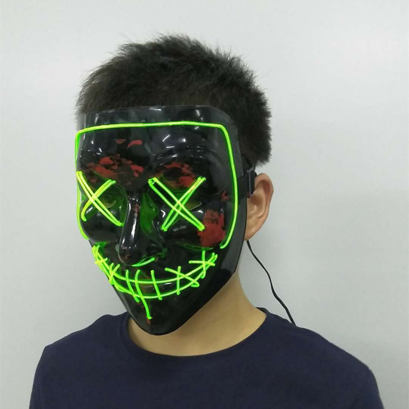 LED Light Mask Halloween Festival Cosplay Costume Face Cover V for Vendetta Funny EL Wire Glowing Up Flashing 3V