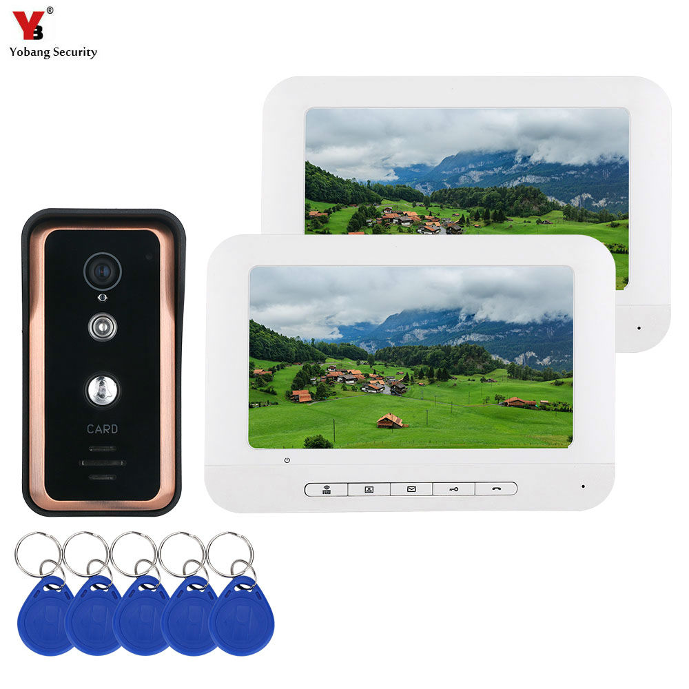 7 Inch Color HD Touch Screen Wired RFID Video Door Phone Doorbell With IR Camera 100M Remote Control System Intercom