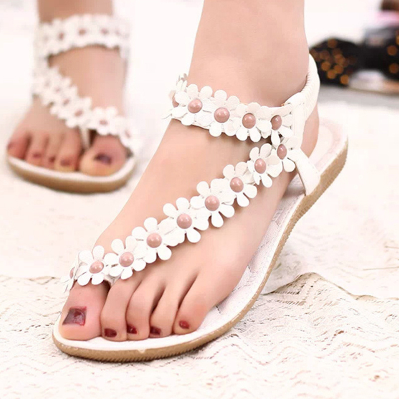 Women Sandals Fashion Summer Shoes Women Flats Sandals Solid Ladies Beach Shoes Flower толстовка wearcraft premium унисекс printio rapture