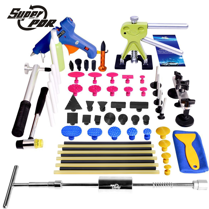 Super PDR tools Paintless Dent Removal for Car epair tools kit glue gun T type dent puller pulling bridge glue tabs hand tools  super pdr car paintless dent repair tools kit t bar dent lifter green dent puller pulling bridge set glue gun dent tabs