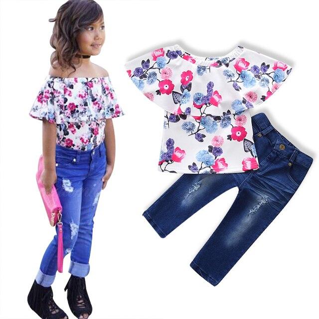 e63fe3189 3 pcs Bebê Meninas Define Calça Jeans Buraco Moda 100% Algodão cabelo + Tops  +