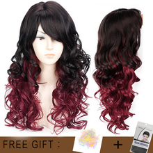 Long Wavy Red Black Hair Mix Color Women Wigs Heat Resistant Synthetic wigs with bangs for Women African American Natural Hair