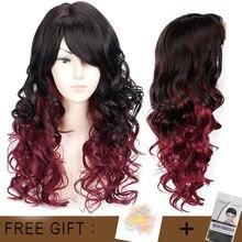 Uzun Dalgalı Kırmızı Siyah Saç Mix Renk Kadın Peruk Isıya Dayanıklı Sentetik peruk Kadınlar için patlama ile Afro amerikan Doğal saç