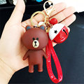 New Cartoon Brown Bear Bell Keychain Line Bunny Cony Rabbit Key Ring Holder Bag Pendant Toys Emoji Chaveiro Llavero