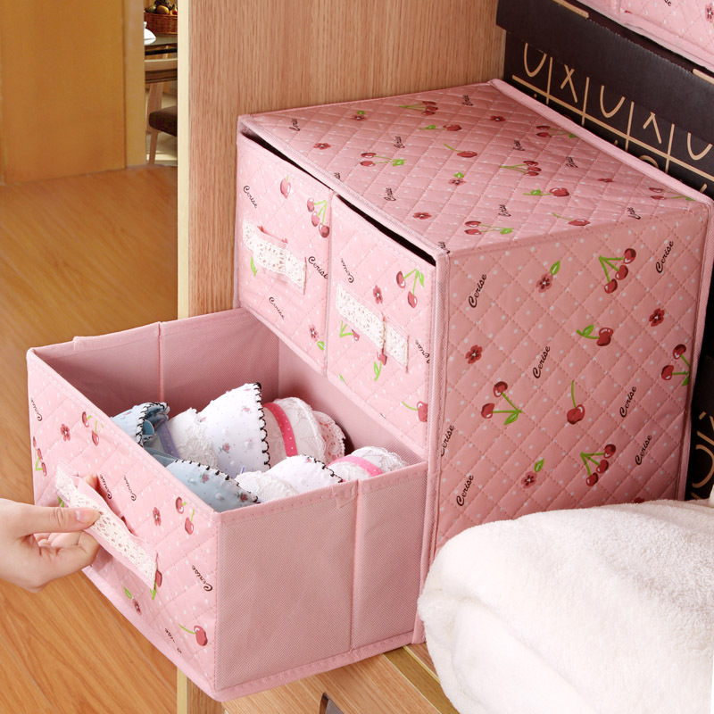 Pink Cherry woven clothing storage box drawer, underwear sweater storage box, floor three pumping SN1503 ...
