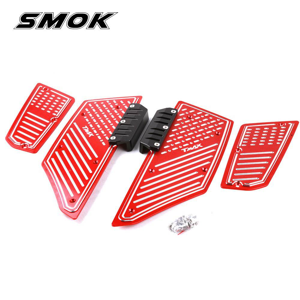 SMOK For Yamaha Tmax T max 530 Accessori 2012 2013 2014 2015 2016 Motorcycle CNC Aluminum Front Rear Foot Pegs Footrest Step Pad cnc motorbike kickstand foot side stand extension pad support plate for yamaha t max tmax 530 2012 2013 2014 2015