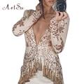 Artsu Лето Женщины Мода Sexy Длинными Рукавами Dress Шитье Блестками Кистями Dress Ползунки Мини-Платья Vestidos ASDR100101