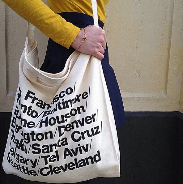 2827ab8e7df AA vintage American Apparel blue woven cotton city bag with strap canvas  letter Shopping Bag yy513