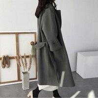 2018 autumn new British women's cashmere coat black belt long winter women's coat woolen coat coat casual wind