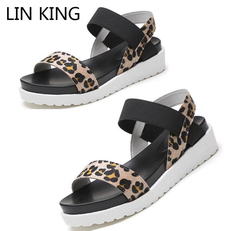 LIN KING Leopard Women Sandals Elastic Band Summer Wedges Shoes Ladies Thick Sole Platform Sandals Female Elevator Sandalias