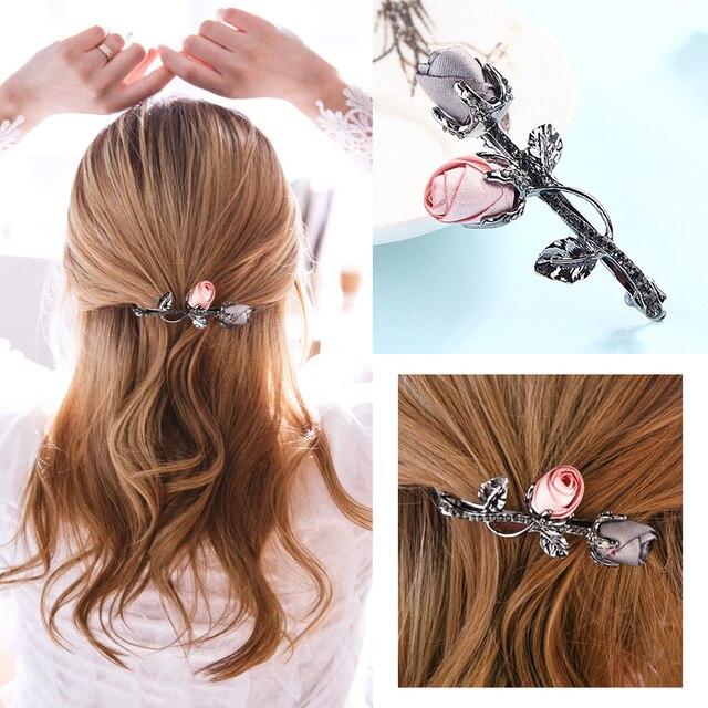 M MSIM 1PC Retro Fabric Rose Flower Hairpins with Rhinestone Leaves Barrettes for Elegant Women Girls Hair Clip Hair Accessories