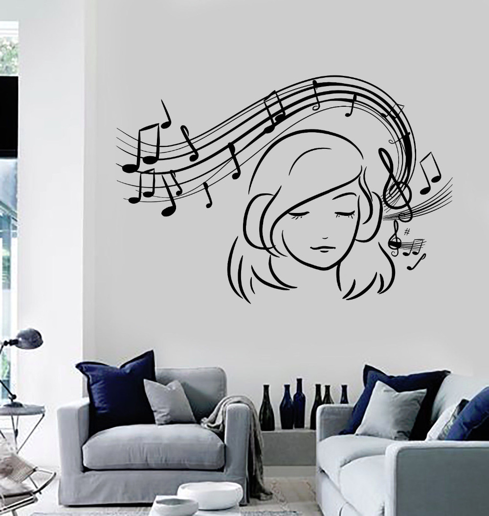 Chica adolescente vinilo pared calcoman a notas musicales - App decoracion hogar ...
