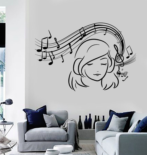 Teen Girl Vinyl Wall Decal Musical Notes Music Decoration Stickers Home Decor  Girls Bedroom Removable Wall Art Stickers ZB546