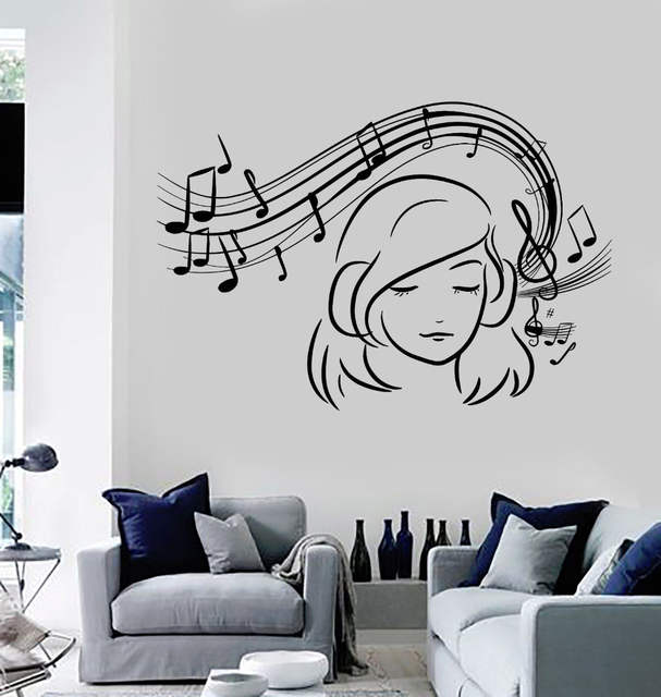 US $7.34 31% OFF|Teen Girl Vinyl Wall Decal Musical Notes Music Decoration  Stickers Home Decor Girls Bedroom Removable Wall Art Stickers ZB546-in Wall  ...