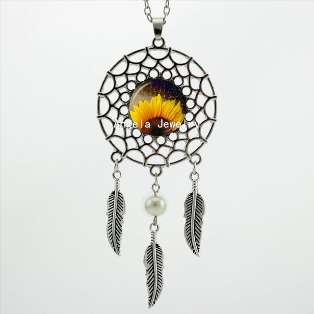 2017 trendy style yellow sunflower necklace sunflower pendant dream 2017 trendy style yellow sunflower necklace sunflower pendant dream catcher jewelry wings shaped sweater chain dc aloadofball Image collections