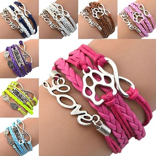 Fashion style Hot sale! Womens Paw Owl Love Braid Bangle Infinity Sister Friendship Charm Wrap Bracelet ABMF