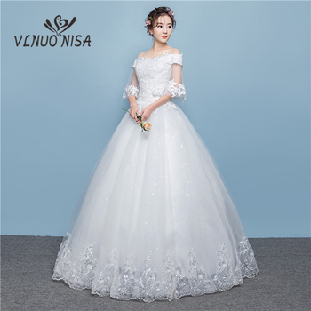 New Arrival Quality Embroidered Wedding Dresses Boat Neck Floor-length Exquisite Flower Pattern Appliques and Sequined Ball Gown