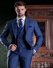 New Design Blue Groom Tuxedos Groomsmen Men's Wedding Prom Suits Bridegroom (Jacket+Pants+Vest+Tie) K:896