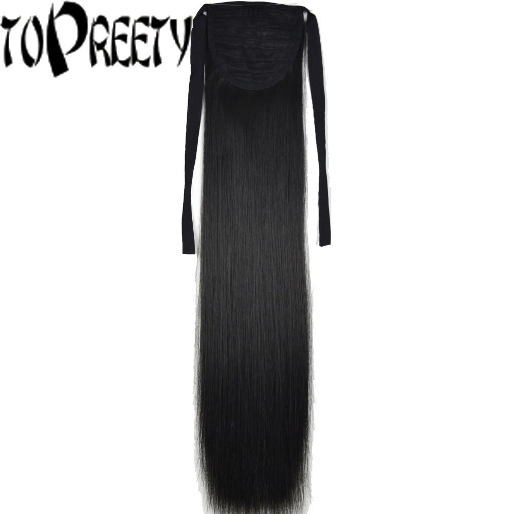 TOPREETY Heat Resistant B5 Synthetic Hair 22 55cm Straight Ribbon Ponytail Hair Extension 60 Colors Available ...